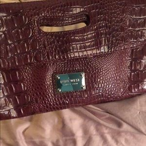 None west clutch maroon/wine color faux alligator